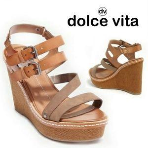 DV by Dolce Vita Jobin Taupe Wedge Sandal Sz 10